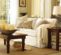 Pottery barn living room ideas -like the furniture and accessories, and the French door curtains Barn Living, My Living Room, Home And Living, Living Room Decor, Living Spaces, Cozy Living, White Couches, Inspiration Design, Design Ideas