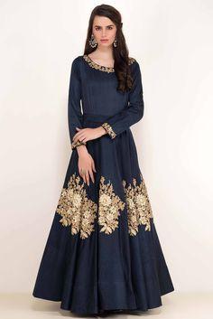 Rent NIYOOSH - Deep Blue Embroidered Gown