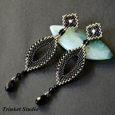 #TrinketStudio, #Beading, #Swarovski, #peyot, #Earrings