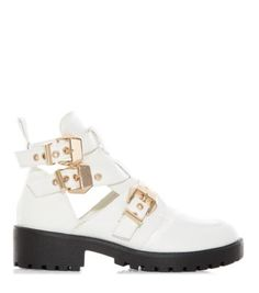 White Triple Buckle Chunky Cut Out Ankle Boots