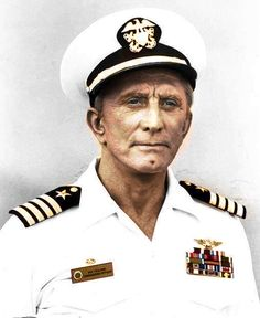 Kirk Douglas went to Notre Dame and was a midshipman during college. He joined the US Navy in 1942 and served as a communications officer with ant-sub operations in the Pacific. He was attacked by a Japanese destroyer and received medical discharge in Hollywood Actor, Hollywood Stars, Classic Hollywood, Old Hollywood, Kirk Douglas, Famous Men, Famous Faces, Famous People, Military Veterans