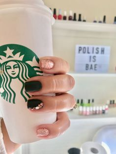 Starbs and olive green nails rose gold