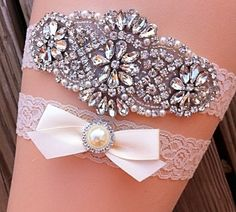 Wedding Garter / Pearl Rhinestone Wedding Garter Set / Ivory Wedding Garter Set / Ivory Lace Wedding Garter