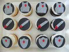 Edible Fondant Knight Cupcake and Cake by CakeMakesAPartyShop, $14.99
