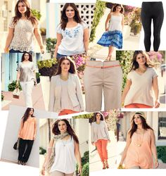 Pastel Orange pants with beige or neutral blouse or tee. white flared jeans with a sparkly taupe blouse.  HMplus.jpg (640×680)