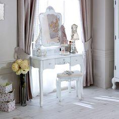 Rose Range - White Dressing Table and Mirror & Stool