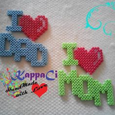 ILoveDad- ILoveMom hama beads by kappaci_handmade_withlove Perler Bead Designs, Hama Beads Design, Diy Perler Beads, Perler Bead Art, Pearler Beads, Fusion Beads, Pearler Bead Patterns, Perler Patterns, Quilt Patterns