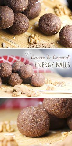 Easy raw cacao & coconut energy balls.