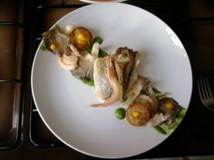 Orata alla moda mediterranea con gamberetti''( salsa ai broccoli,capperi funghi patate e carciofi )'' Gino D'Aquino