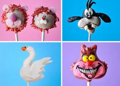 Cute Cake Pops...Goofy, Cheshire Cat, Swans, and Lions