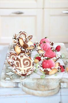 Mürbeteig Körbchen, Eis und creme,,, Rezept auf dem Blog