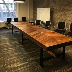 Custom Made Reclaimed Wood Chevron Conference Table
