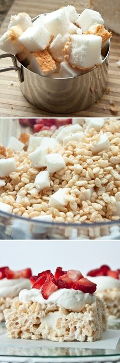 Oh my goodness, these look heavenly. Angel food rice crispy treats.