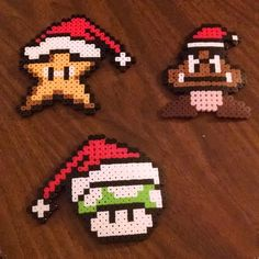 Christmas Mario ornaments perler beads by fire. Perler Bead Designs, Hama Beads Design, Hama Beads Patterns, Beading Patterns, Pixel Beads, Fuse Beads, Pearler Beads, Pixel Art, Hama Art