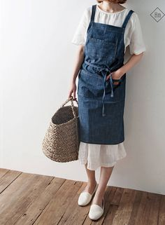 Free shipping-NEW French APRON [Cotton Clever Denim] Premium Gift Chef Works Japanese style Cross ba