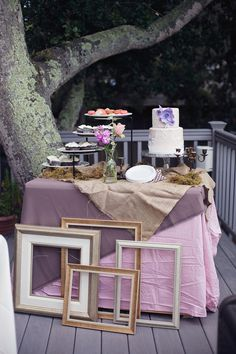 Vintage Chic Inspired Bridal Shower. Love the cake table in this gorgeous vintage chic bridal shower! Love this!!! For Cassie's shower