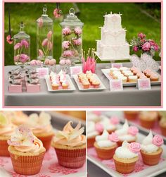 roses and beautiful pink party dessert table  with lots more details on this website for beautiful party spreads. I love the rock candy and all the cute mini desserts
