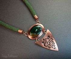 Copper necklace. Bloodstone necklace. Flowers pendant. Green flower necklace. by StasyaWireWrap on Etsy