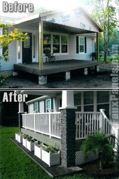 porch with stone columns on manufactured home