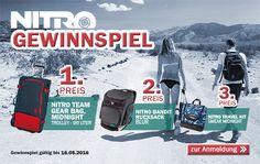 Aufgepasst! Unser Nitro Gewinnspiel läuft wieder!  1. Preis: Nitro Team Gear Bag Trolley - Midnight 2. Preis: Nitro Bandit Rucksack - Blur 3. Preis: Nitro Travel Kit Smear - Midnight  Hier geht´s zu unserem Gewinnspiel:  http://www.snowlab.de/gewinnspiel.php