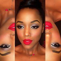 Red lips dark skin
