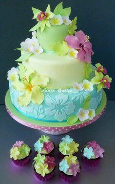 Hawaiian Luau Birthday Cake And Cupcake Ideas Luau Birthday Cakes, Luau Cakes, Pretty Cakes, Beautiful Cakes, Amazing Cakes, Unique Cakes, Creative Cakes, Fondant Cakes, Cupcake Cakes