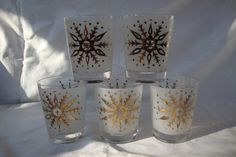 FIVE 5 Vintage glasses circa 1950s. Beautiful by DamenArt on Etsy