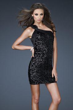 One Shoulder Sophisticated Short Black Prom Dresses Open Back