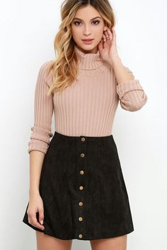 Wildleder My Day Schwarzer Wildlederrock – Cool Style Suede My Day Black suede skirt leather leather skirt Fall Winter Outfits, Summer Outfits, Casual Outfits, Skirt Outfits For Winter, Denim Skirt Outfit Winter, Smart Casual Skirt Outfit, Smart Casual Women Skirt, Winter Wear, Casual Dresses Uk