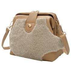 Khaki Faux Fur Splicing Crossbody Bag (645 RUB) ❤ liked on Polyvore featuring bags, handbags, shoulder bags, crossbody purse, crossbody handbags, brown shoulder bag, brown purse and crossbody shoulder bag