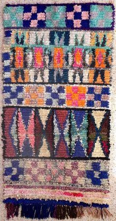 'Cross I' vintage moroccan boucherouite rug (115cm x 225cm) FREE SHIPPING! | Hunt & Bow
