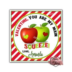 Happy Valentine's Day - Squeeze Valentine Personalized Theme Square tag- Available as Stickers- Card paper Tags or Digital File Valentine Theme, Funny Valentine, Happy Valentines Day, Printable Tags, Printables, Apple Theme, Birthday Thank You, Paper Tags, Diy Stickers
