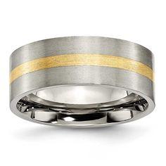 Chisel 14k Gold Inlaid Flat Brushed Ring