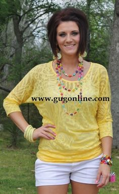 Seconds SALE  Yellow Animal Print Simple Tunic- NOW IN PLUS SIZE $5.00 Small-3XL www.gugonline.com