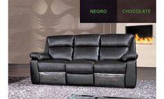 Sofá tres plazas relax en piel textil. Varios colores