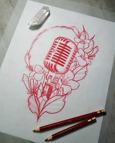 Search inspiration for a New School tattoo. Music Tattoo Designs, Music Tattoos, Cool Tattoos, Tattoo Sketches, Tattoo Drawings, Art Sketches, Music Drawings, Music Artwork, Tattoo Studio