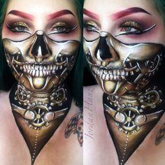 Best Robot Makeup Ideas For Amazing Halloween Party Robot Makeup, Zombie Makeup, Skull Makeup, Sfx Makeup, Cosplay Makeup, Costume Makeup, Makeup Art, Halloween Face Makeup, Costume Halloween