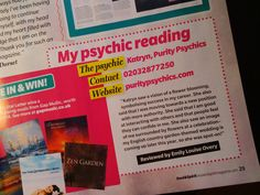 I'm delighted to share a small review about me, appearing in Soul & Spirit magazine, out TODAY19th of February. #psychic  Purity Psychics (@PurityPsychics) | Twitterhttps://twitter.com/PurityPsychics  http://www.facebook.com/PurityPsychics