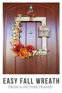 Easy DIY Fall Wreath From a Picture Frame
