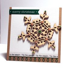 SRM Stickers - @Jan Tatomir created this cool Christmas card using a wooden ornament, cardstock and SRM Stickers.