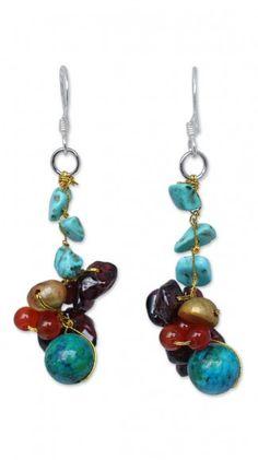 Pearl and garnet cluster earrings 'Dawn Sky'