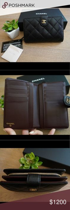 Chanel Black Caviar L Zip Wallet w/ Gold Hardware Gently used. Interior lining is clean. Exterior leather is pristine. Only signs of use are the credit card slots as shown in the photos and minor scratches on the CC. 10 credit card slots, one long billfold, two flat pockets, metal zipper coin pocket with 2 compartments, snap closure with CC logo. Size: 6x4x1 inch. Made in France. Excellent condition! Comes with box, dust bag, authenticity card. This classic style is completely sold out…