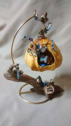 Mini Gourd Fairy Nursery! ~ Please visit my website to see more of my work. I would love to hear from you! #fairyhouses