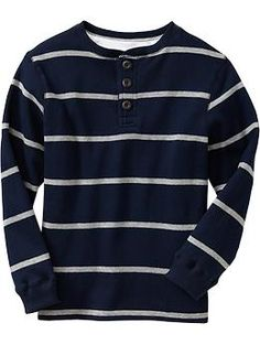 Boys Striped Henley Pullovers   Old Navy