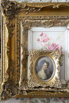 Old frames…even plastic ones can be made like vintage with paint rubbed into the grooves, silver or gold over top, etc. I have fooled a lot of people with some I did. Mirror Photo Frames, Antique Picture Frames, Antique Pictures, Mirrors, Wall Mirror, Vintage Frames, Antique Frames, Shabby Vintage, Vintage Decor