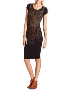 leopard graphic midi dress