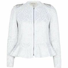 Silver jacquard embellished peplum jacket ?70.00