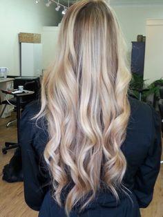 Blonde Balayage on long layered hair @ Daquila Hair Color Studio