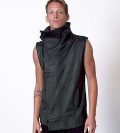 Skingraft Sleeveless Jacket Distressed Leather in Olive