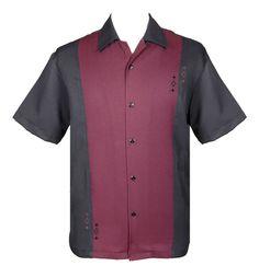 085854f05d9f vintage kleding Contrast Diamond Btn. Up Classic shirt van Steady Clothing  in zwart me bordeaux